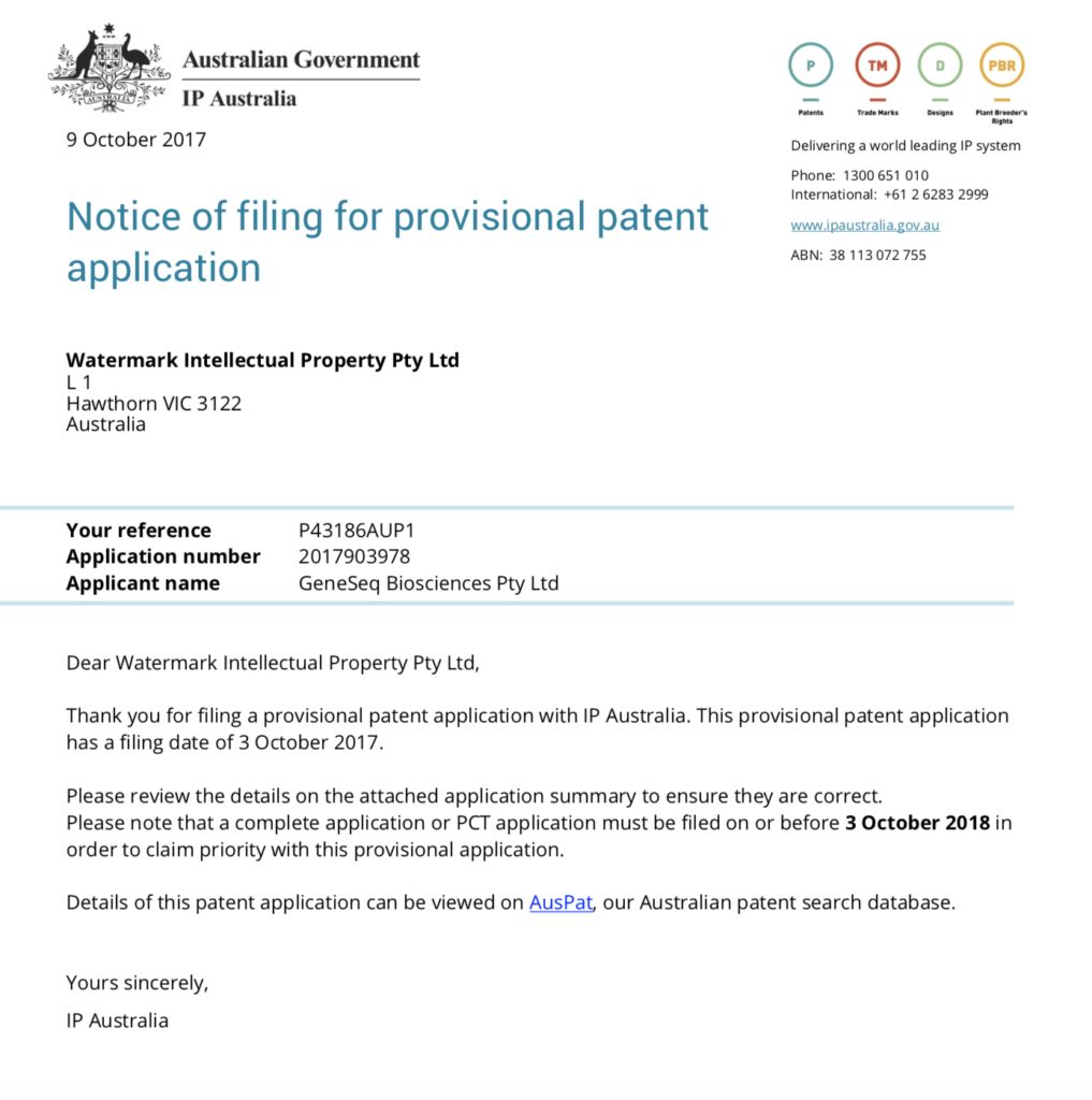 Melaseq patent application submitted